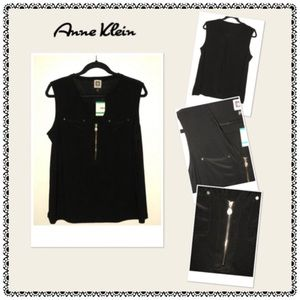 🆕 Anne Klein Sleeveless Black Top w/Gold Accents